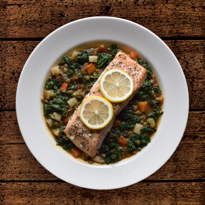 Salmon & French Lentils